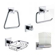 ECOSPA 5 Piece Bathroom Set in Chrome  Soap Dish, Tumbler, Towel Rail, Hook, Toilet Roll Holder